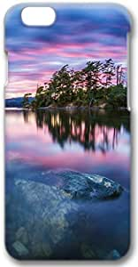 Nature Scenery Trees Lake Water Stones Sunset Apple iPhone 6 Plus Case, 3D iPhone 6 Plus Cases Hard Shell Cover Skin Casess