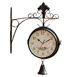 KiaoTime LARGE Vintage Double Sided Wall Clock Iron Metal Silent Quiet Station Wall Clock Decorative Double Faced Wall Clock Antique Wall Clock With a Ring Bell (Black Color Clock with a Bell)