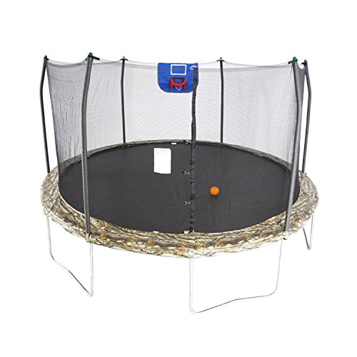 Skywalker Trampolines 15-Feet Jump N' Dunk Trampoline with Safety Enclosure and Basketball Hoop -