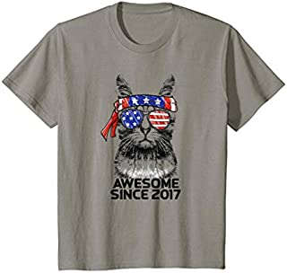 Kids Awesome Since 2017 2nd Birthday  Cat USA American Flag T-shirt | Size S - 5XL