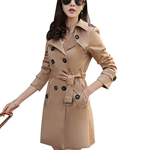 Women Slim Fit Lapel Mid-Length Trench Coat Jacket Double Breasted Outwear with Belt S-5XL Dark Khaki