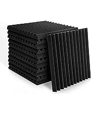 Paneles de espuma acústica de 2,5 x 30,5 x 30,5 cm, azulejos de cuña de estudio, paneles de sonido, cuñas de aislamiento acústico, absorción de sonido para el hogar y la oficina (12 unidades), color negro