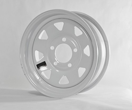 2-Pack Trailer Wheel White Rims 15 x 5 Spoke Style (5 Lug On 4.75