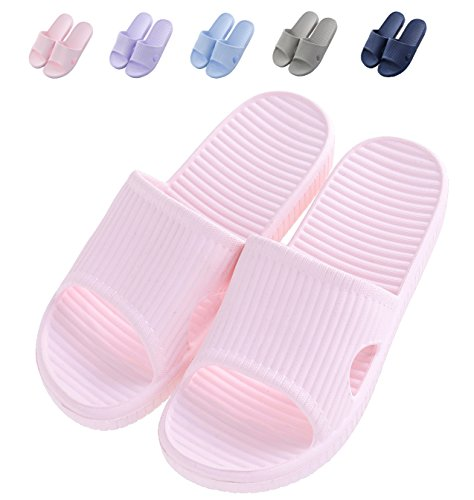 Bathroom Slippers Ladies Non-Slip Shower Sandals House Indoor Soft Memory Foams Sole Pool Summer Shoes (US 9-10=260MM=UER 40-41, Pink) by HAOJIALI