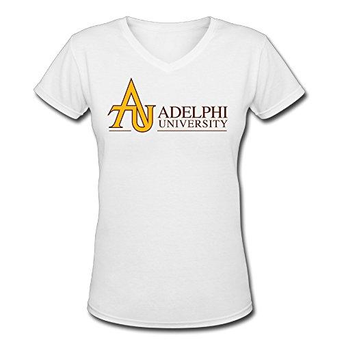 Mako62 Womens Adelphi University V-Neck T Shirts Medium White
