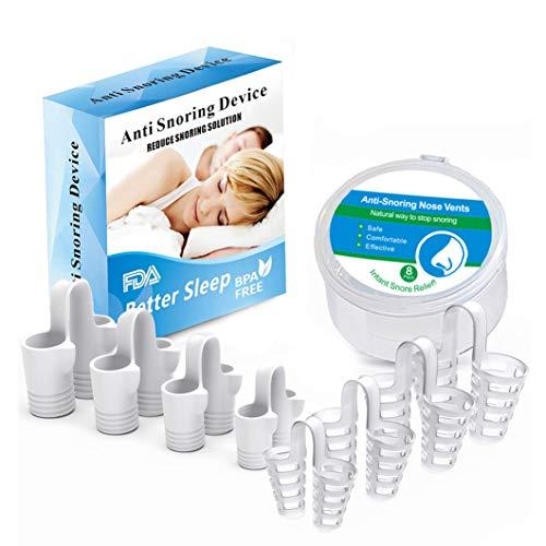 Anti Snore Spray - iYoway Anti Snoring Devices - Snoring Solution - Snore Stopper Set - Anti Snoring Solutions - 8 Pairs Anti Snoring Nose Vents - Anti Snoring Device- Snoring Stopper Nasal Dilators