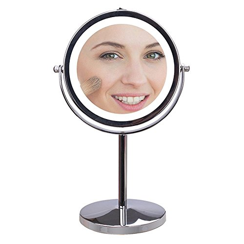 Lighted Makeup Mirror with 5x Magnification, Wosweet Double - Sided 7 Inch Round  Polished Chrome Finish Vanity Mirror with High Definition Clarity Anti Scratch Rust