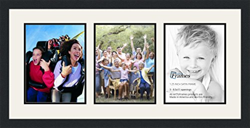 ArtToFrames Double-Multimat-28-61/89-FRBW26079 Collage Photo Frame Double Mat with 3-8.5x11 Openings and Satin Black Frame, Super White, 3-8.5x11