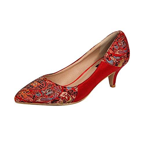 OCHENTA Mujer de bodas talones del satén rojo elegante Rojo 5.5CM