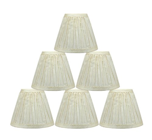 - Urbanest Chandelier Lamp Shades 6-inch, Random Mushroom Pleat, Hardback, Clip On, Cream,Set of 6