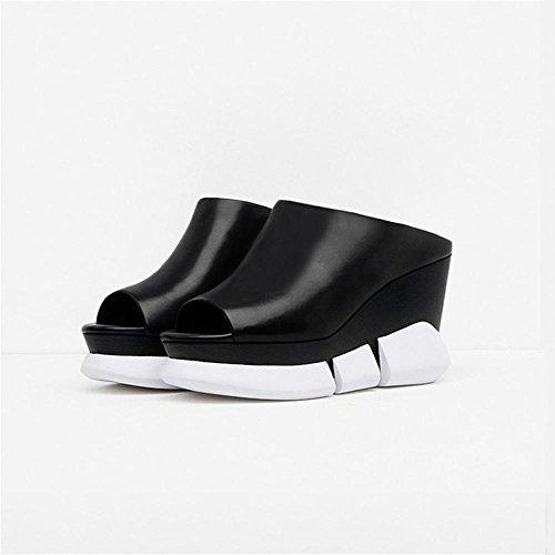 La Mujer Tacones Boca De Pescado Wedge-Shaped Talón Suelto Torta Zapatillas Sandalias De Cuero De La Plataforma Black