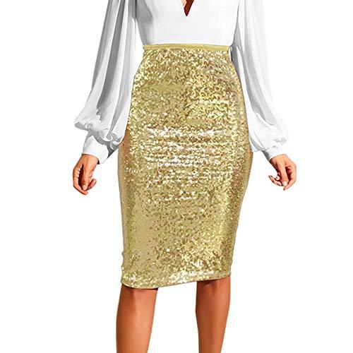 Beautyfine Slim Sequin Pencil Skirt Women Fashion Solid High Waist Push up Hip Zipper Wrap Dress Gold