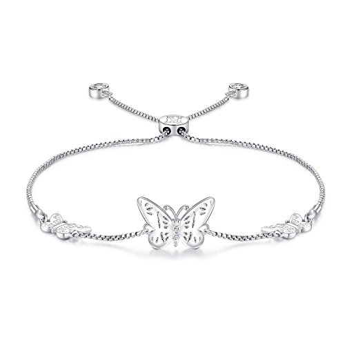 NINAMAID Silver Butterfly Charms Expandable Bolo Bracelet with Sparkling Cubic Zirconia Adjustable White Gold Plated Women Girl Jewelry Gift - Pave Butterfly Charm