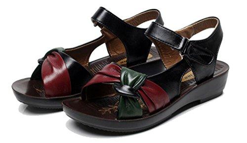 Plates Chaussures Toe Confort Sandales Rouge Plage Femme Sandales Noir Ttravail 2018 Noir Marron Sabots Mules de Peep et Cuir Compensé d'été zwvAIIqPt