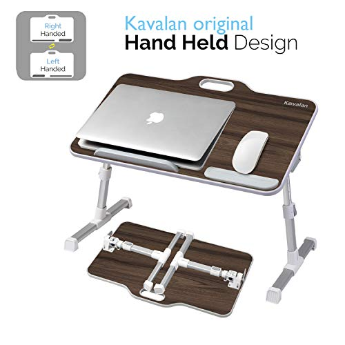 Kavalan Right & Left Handed Design Portable Laptop Table with Handle, Height & Angle Adjustable Sit and Stand Desk, Bed Table Tray, Foldable Laptop Stand Holder for Sofa Couch - Black Teak