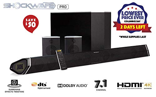 Nakamichi Shockwafe Pro 7.1Ch 400W 45' Sound Bar with 8' Subwoofer (Wireless) & Rear Satellite Speakers
