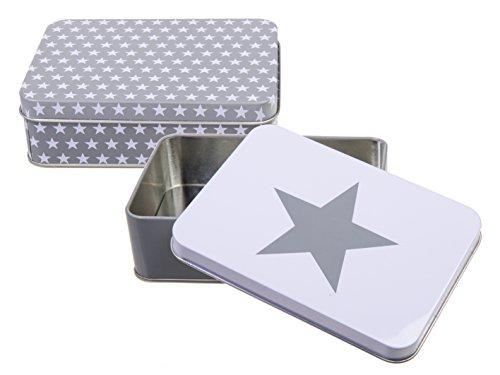Bada Bing 2er Set Keksdose Plätzchendose Metalldose Stern rechteckig grau weiß Aufbewahrungsdose