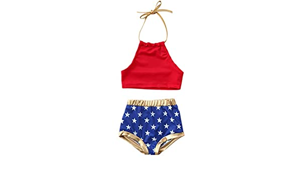 2551d4ad9f2 Amazon.com: Kingspinner Girls Two Piece Swimsuit Sling Backless Bikini Tops  + Star Print Shorts Bikini Set Swimwear (Red, 2-3 Years): Clothing