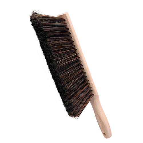 Huibot Bristle Brush with Oiled Beech Wood Handle Soft Hand Broom 14 Inch Long (Black) from Huibot