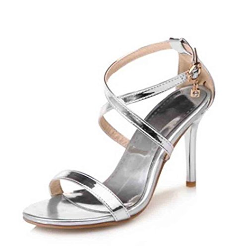 Aisun Women's Patent Charms Cross Buckle Straps Open Toe High Stiletto Heels Sandals Silver