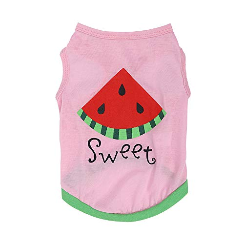 Puppy Vests,Pet Cat Dog Shirts,Pet Apparel,Small Pet Costumes for Boy Girl New Cute Pet Spring Summer Breathable Watermelon Print Vest Clothing for Pet Dog ()