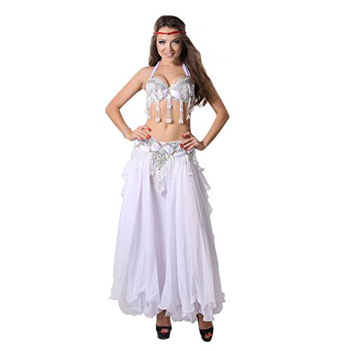 GUILTY BEAUTY Belly Dance Costume for Women Professional Performance Dress,Top Bra Belt Skirt 3Pcs,Tribal Style,Size (Belly Dance Costumes Large Ladies)