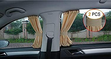 ZYHW Beige Adjustable VIP Car Window Curtain UV Sunshade Visor 70 x 39cm 2Pcs