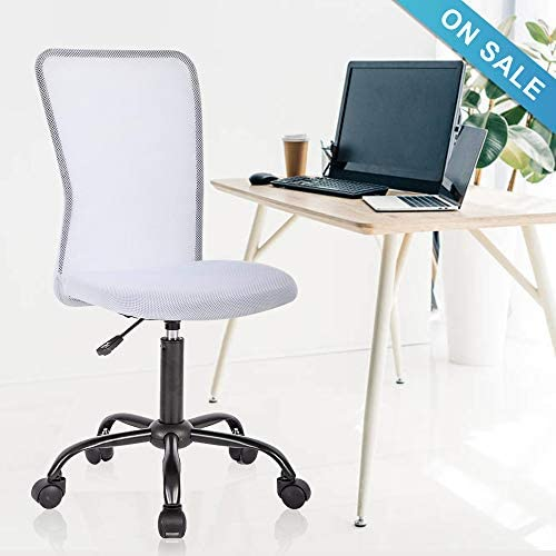 Office Chair, Meet Perfect Mid Back Armless Ergonomic Adjustable Rolling Swivel Back Support Executive Desk Chair, Computer Mesh Chair Modern Task Chair with Wheels for Home and Office- White