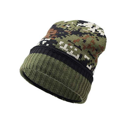 Qianliuk Caliente Invierno Espesar Hombres Sombrero Beanies Verde Polar claro Sombreros Tejer Forro BBg6f