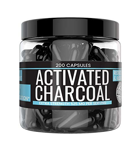 Activated Charcoal Capsules (200 Capsules, 400 mg) by Earthborn Elements, Helps Reduce Gas & Bloating, Natural Detoxifier and Purifier, Food and USP Pharmaceutical Grade, Vegan Friendly