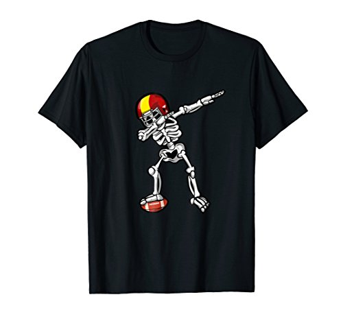 Dabbing Skeleton Football Player T Shirt Halloween Skull