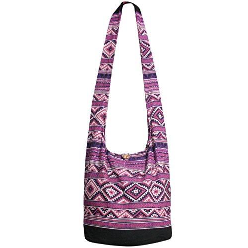 Hippie Hobo Bags Crossbody Bags Shoulder bag Thai Top Zip Messenger Bag (Purple)