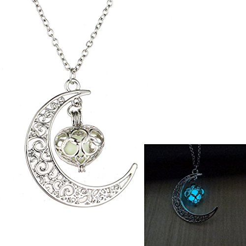MJARTORIA Filigree Glim Heart Cage Crescent Moon Blue Music Chime Ball Cabochon Necklace