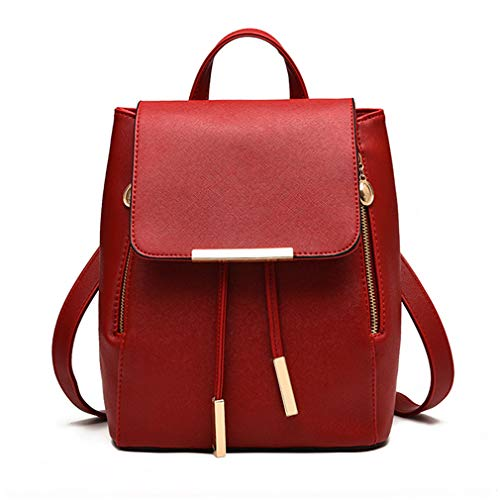 Pahajim Fashion women purse cute leather backpack for women Schoolbag (wine red)