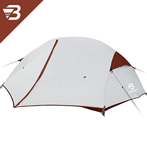 Bessport Backpacking Tents 2 Person, Easy & Quick Setup Lightweight Camping Tent - Waterproof, Two Doors for 3-4 Season Families, Expeditions, Outdoor, Hiking (Burgundy)