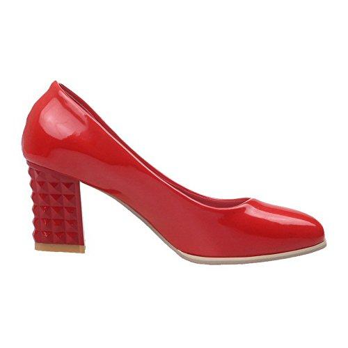 AllhqFashion Mujer Sin cordones Puntera Cuadrada Tacón Medio Pu Sólido De salón Rojo
