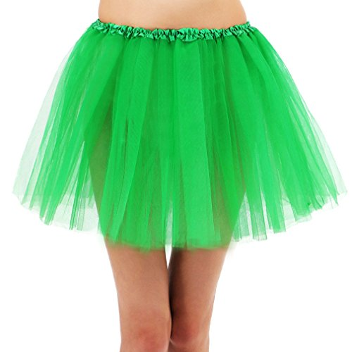 Simplicity 3 Layered Ballerina Tutu W/ Stretch Waist, Tulle Fibers, Dark Green
