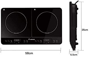 Aobosi Placa de inducción, Doble Placa de inducción, Cocina eléctrica portátil, Sensor táctil y Placa de Cristal, función de Temporizador de 4 Horas, ...