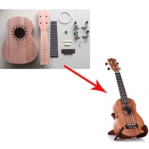 Zimo Kit de ukelele Soprano Hawaii, incluye cuatro cuerdas y los accesorios necesarios para fabricar tu propio ukelele Katjaone-1