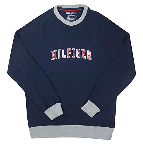 Tommy Hilfiger Men's Logo-Graphic Crew-Neck French Terry Sweatshirt (Dark Navy, Small)