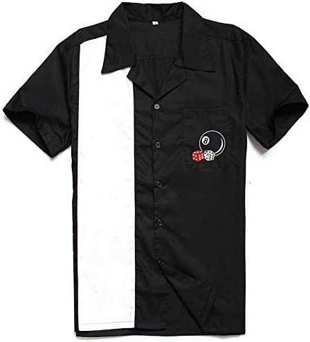 Candow Look Embroidery 50s Rock n Roll Mens Rockabilly Vintage Bowling Shirts: Amazon.es: Ropa y accesorios