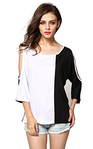 FINEJO Women Sexy Off Shoulder Cut Out Slit Sleeve Loose Stretch T-Shirt Top 41PldveiOKL