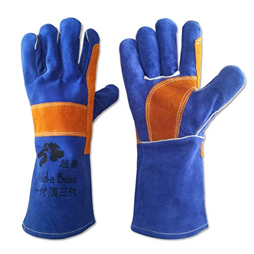 ZJYSM Comfortable Wearable Flexible Lightweight Welder Gloves Leather Long Thick Two-Layer Electric Welding High Temperature Resistant Wear Protective Gloves Gloves