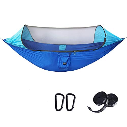 G4Free Large Camping Hammock with Mosquito Net Pop-up Parachute Lightweight Hanging Hammocks Tree Straps Swing Hammock Bed for Outdoor Backpacking Backyard Hiking(Blue/Light Blue) (Best Pop Up Mosquito Net)