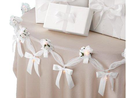 WILTON 6' Lighted White Bridal Rose - Wedding Organza Rose Flower