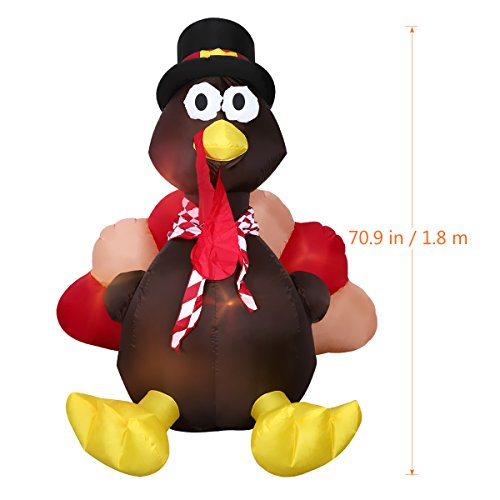 6 Foot Thanksgiving Inflatable Turkey, YUNLIGHTS Lighted Air Blown Inflatable Turkey with Pilgrim Hat Perfect Thanksgiving Autumn Decorations by YUNLIGHTS (Image #2)
