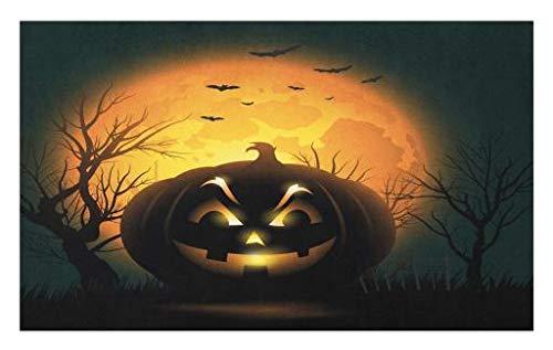 Lunarable Halloween Doormat, Fierce Character Evil Face Ominous Aggressive Pumpkin Full Moon Bats, Decorative Polyester Floor Mat with Non-Skid Backing, 30