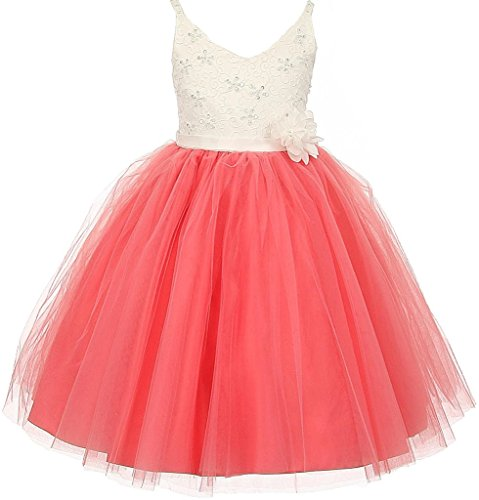 Big Girls' Two Tone V Neck Beaded Lace Top Flowers Girls Dresses Coral Size (Spectacular Flower Girl Dress)