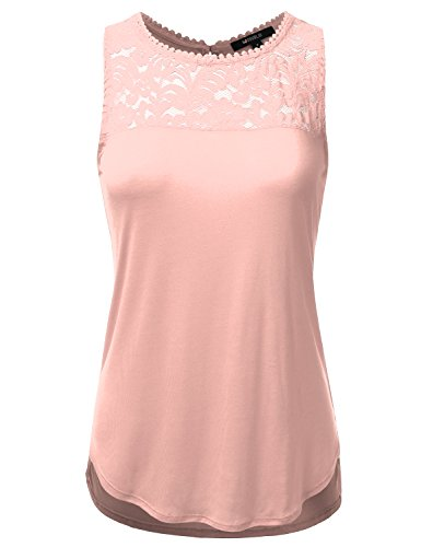 Doublju Loose Fit Floral Lace Tank Blouse Top For Women With Plus Size Blush Medium (Womens Blush)