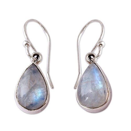 NOVICA Rainbow Moonstone and .925 Sterling Silver Dangle Teardrop Earrings, Luminous - Moonstone Dangle